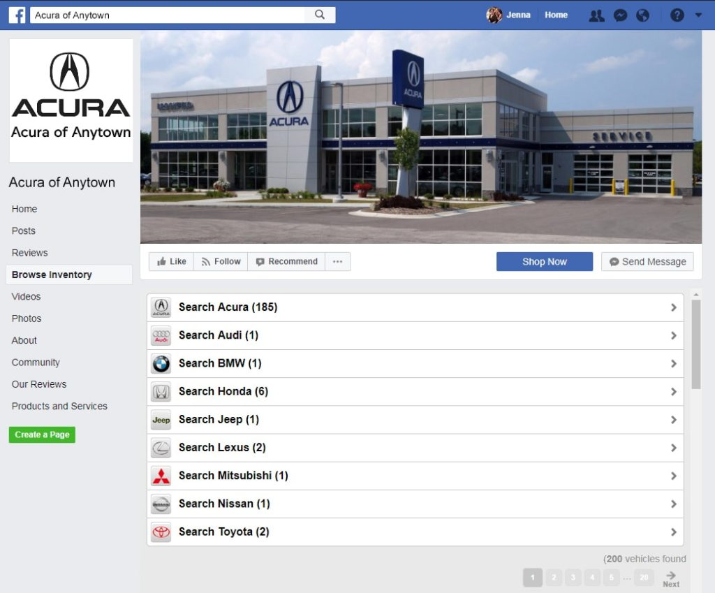 Facebook inventory tab on Acura website