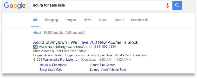 Paid search results screen for Acura website