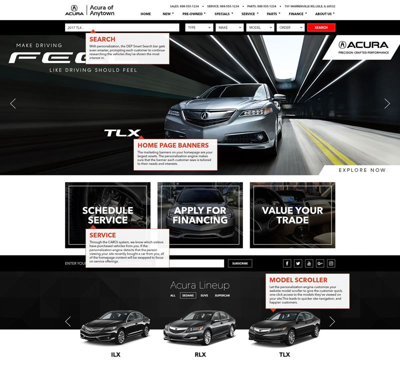 Personalization features on Acura website