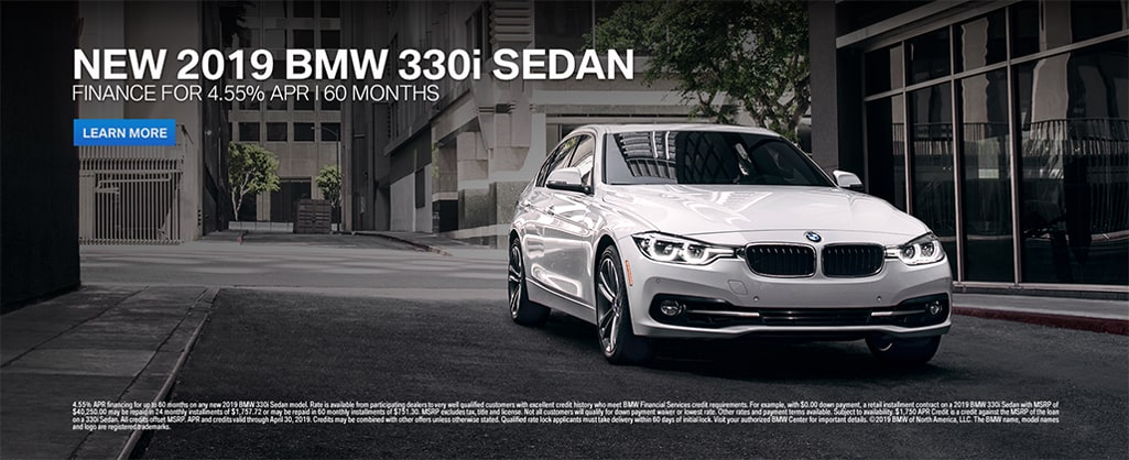 Website banner ad featuring BMW 330i