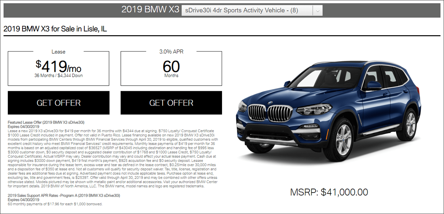 BMW Dynamic Lease Offer screen image