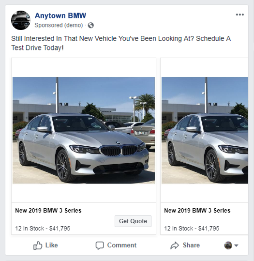 Facebook ad features BMW vehicle