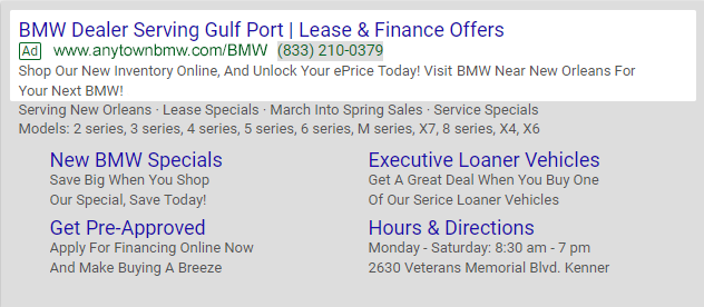 Geo Local campaign search results screen