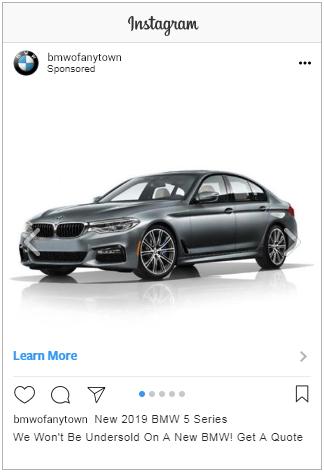 Instagram ad displaying BMW 5 Series vehicle