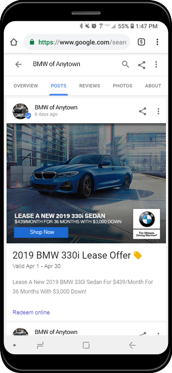 Google Post for BMW vehicle displayed on phone screen