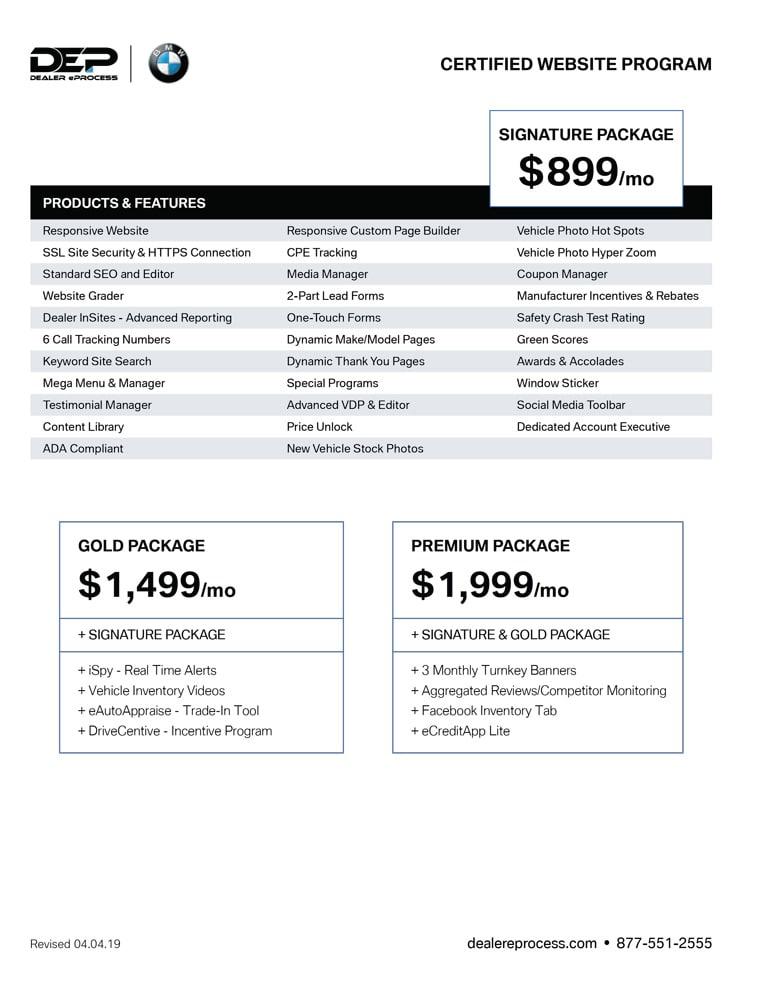 BMW Website Program price sheet