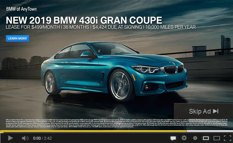 BMW YouTube ad image