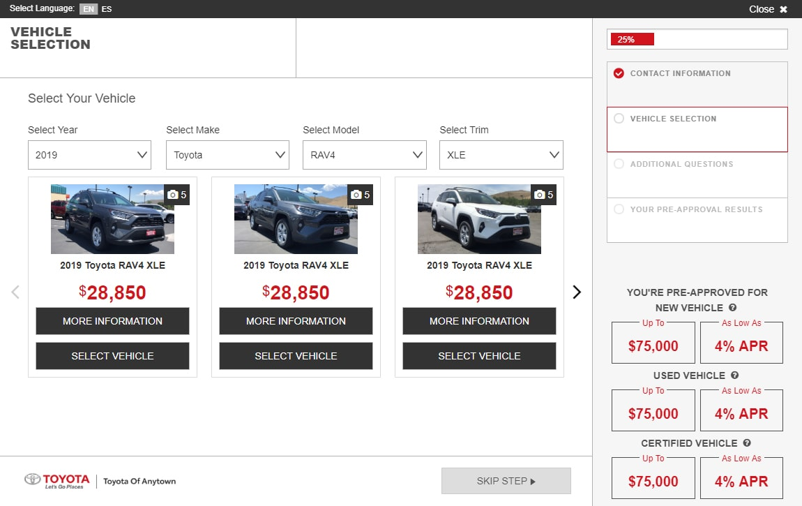 eCreditApp vehicle selection screen displays pre approved financing offers