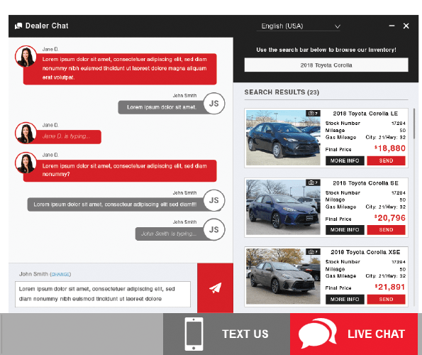 chat window with relevant vehicle inventory in featured column