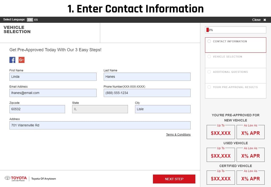 slide 1: enter contact information
