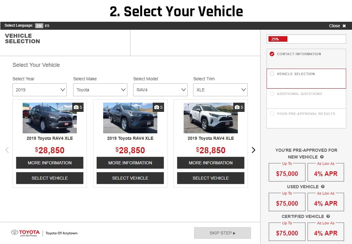slide 2: select your vehicle