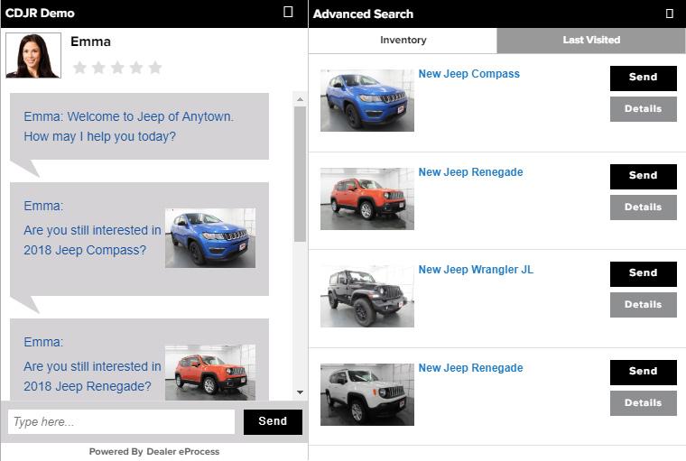 Dealer Managed Chat screen image