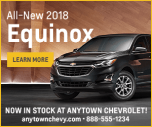 square shaped display ad for a 2018 Chevy Equinox