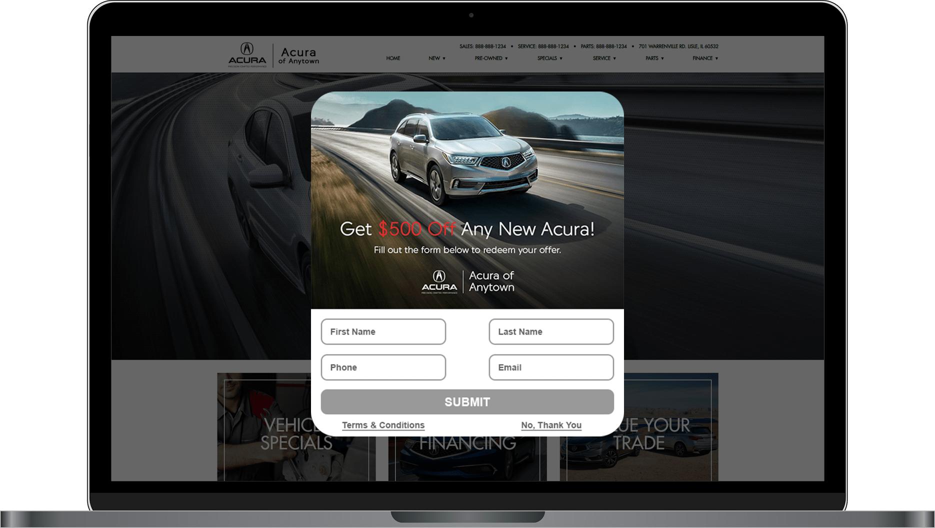 DriveCentive offer screen for Acura website