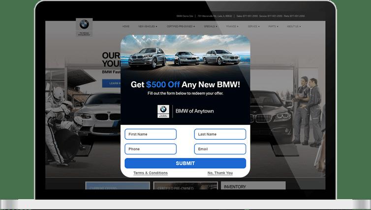 DriveCentive offer for BMW dealer displayed on laptop screen