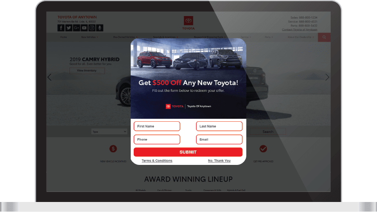 DriveCentive offer shown on laptop screen