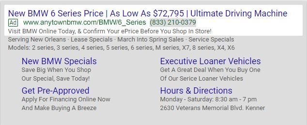 Dynamic Paid Search screen, BMW search