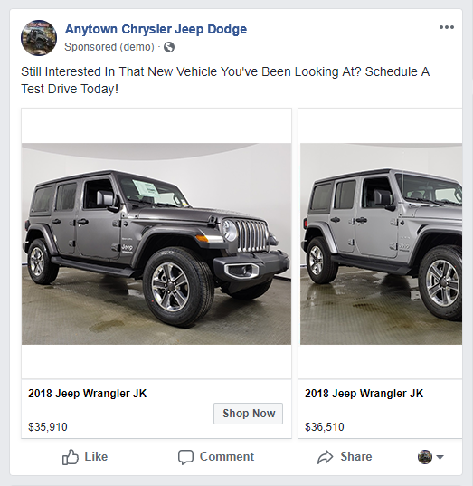 Facebook ad featuring Jeep vehicles