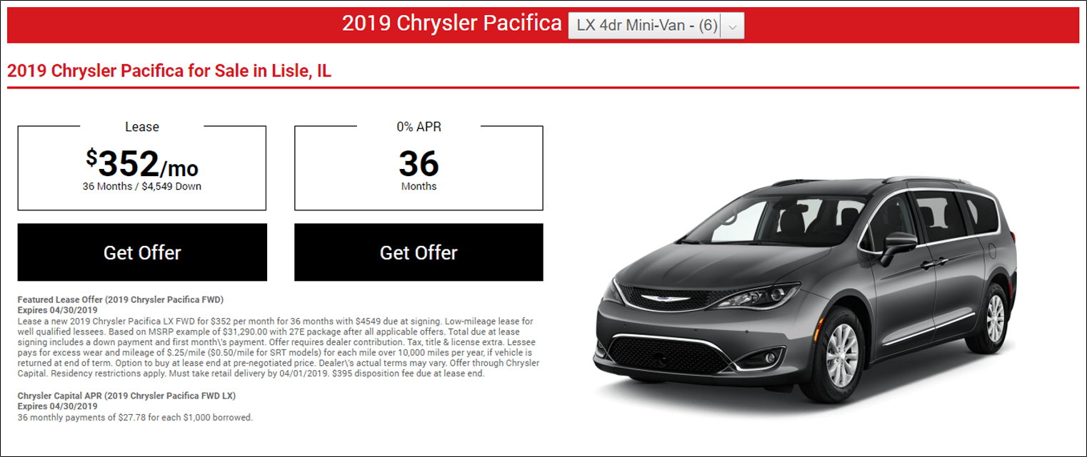 lease offer displays Chrysler Pacifica image along with lease offer and terms