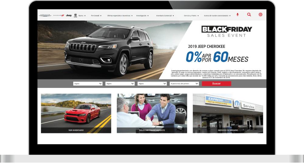 Spanish website on laptop screen