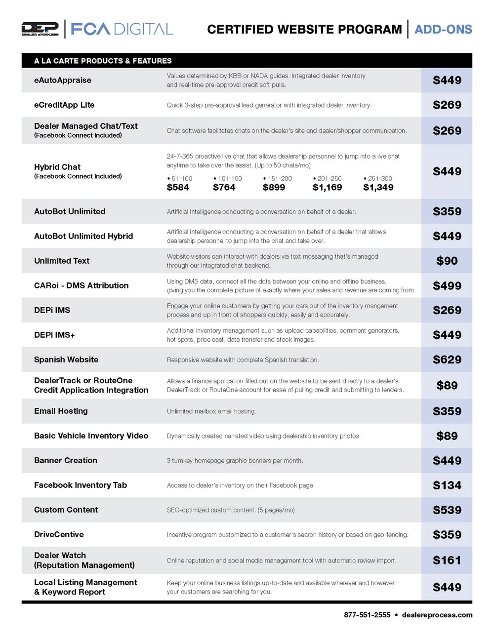 FCA website price sheet