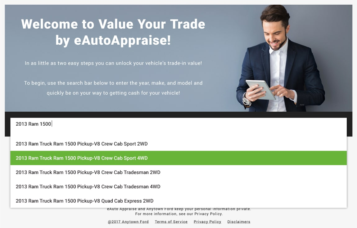 eAutoAppraise for FCA page, screen 1 of 3: select vehicle