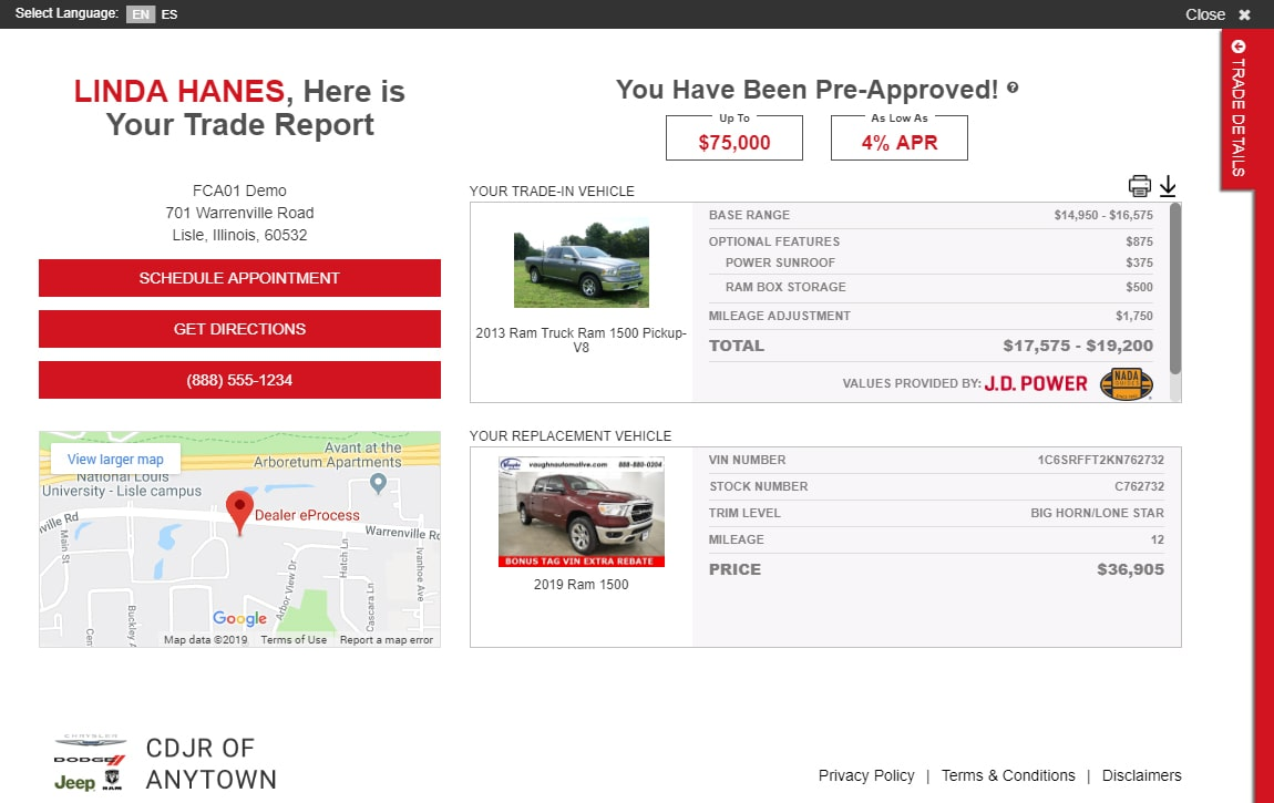 eAutoAppraise for FCA, screen 3 of 3: vehicle appraisal figures shown