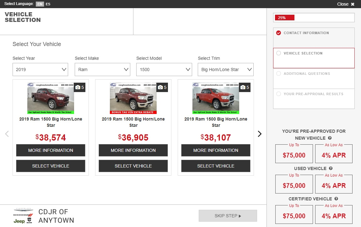 eCreditApp for FCA screen 2 of 3: vehicle selection