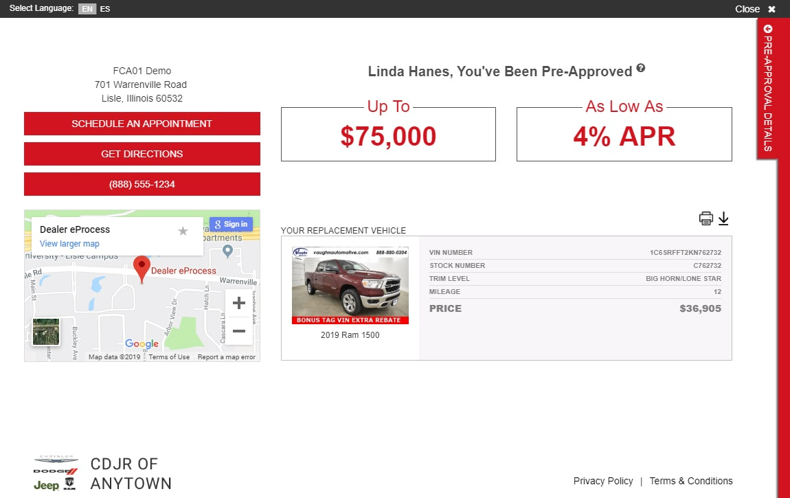 eCreditApp for FCA screen 3 of 3: finance and lease offer