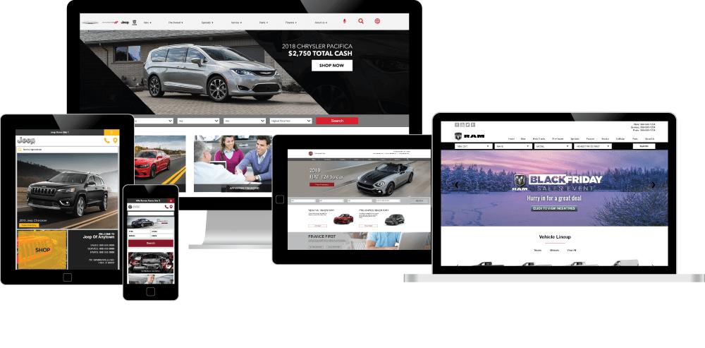 FCA websites on desktop, tablet, and mobile screens
