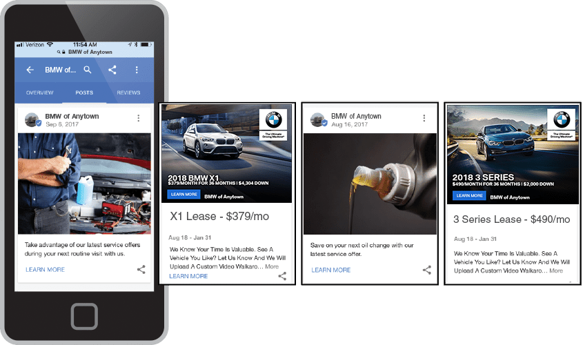 Google Posts on mobile devices