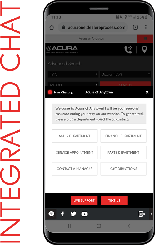 Chat screen for Acura website appears on mobile phone