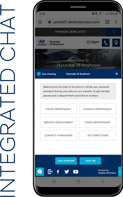 chat screen for Hyundai website appears on smartphone