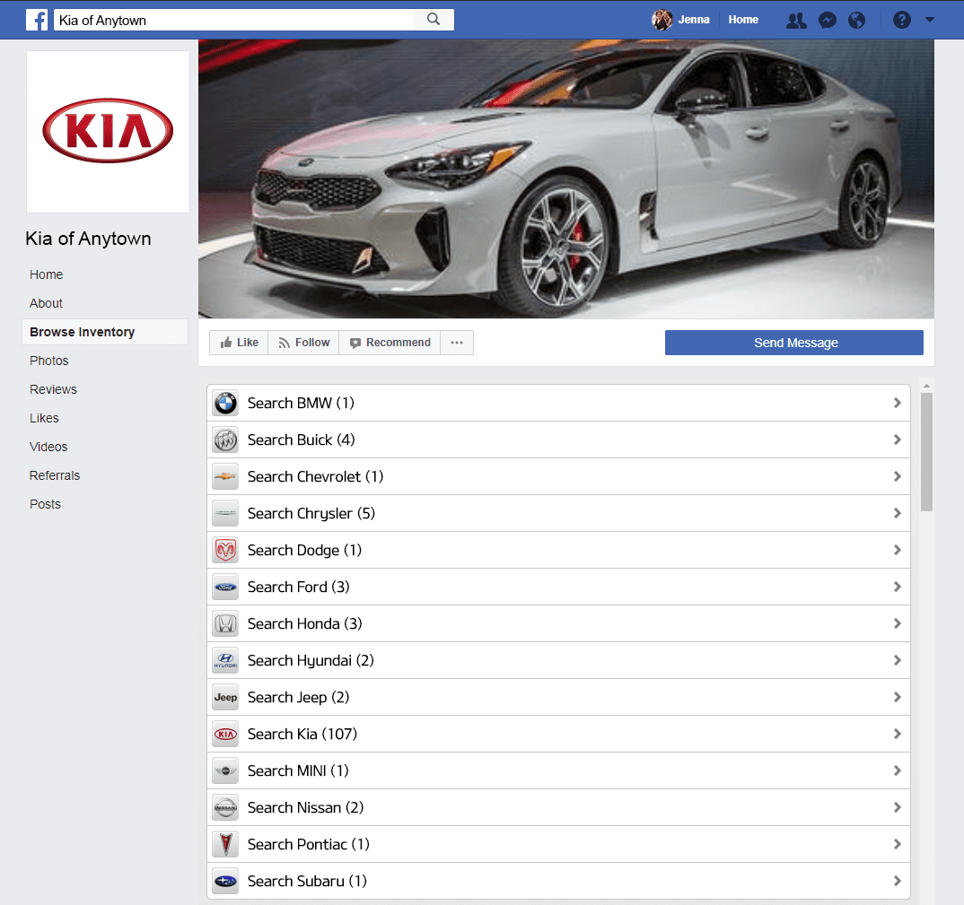 Kia Facebook Inventory Tab