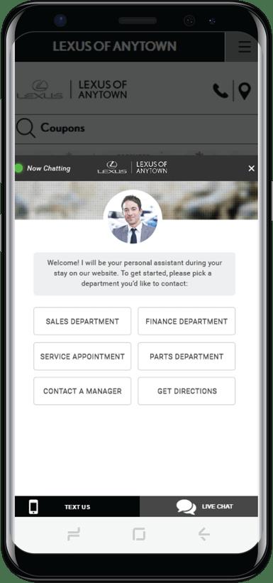 Lexus dealer chat on mobile screen