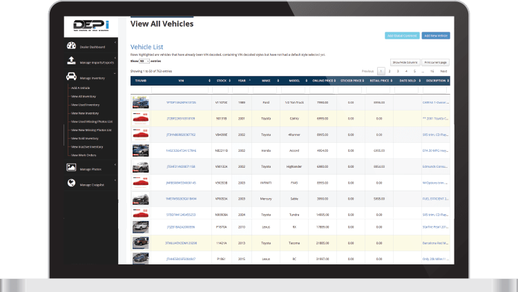DEPi vehicle list screen