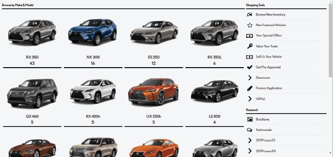 Mega Menu screen with Lexus search images