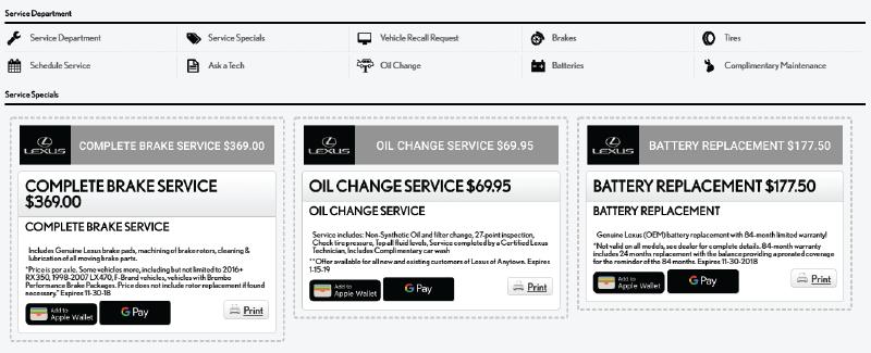 Lexus service coupons
