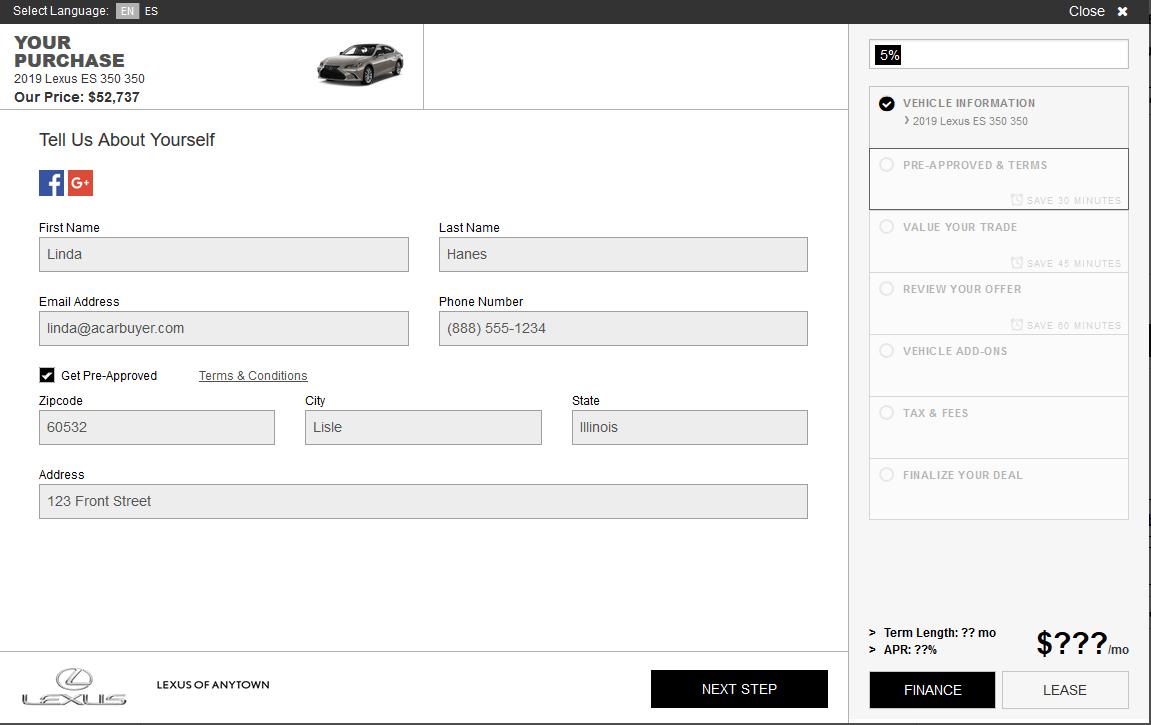 SARA step 1: customer information form