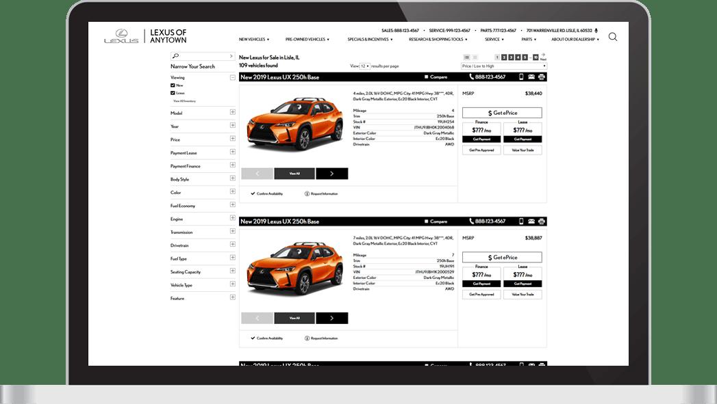 SRP on Lexus dealer website