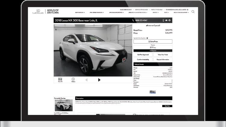 Lexus VDP car details page