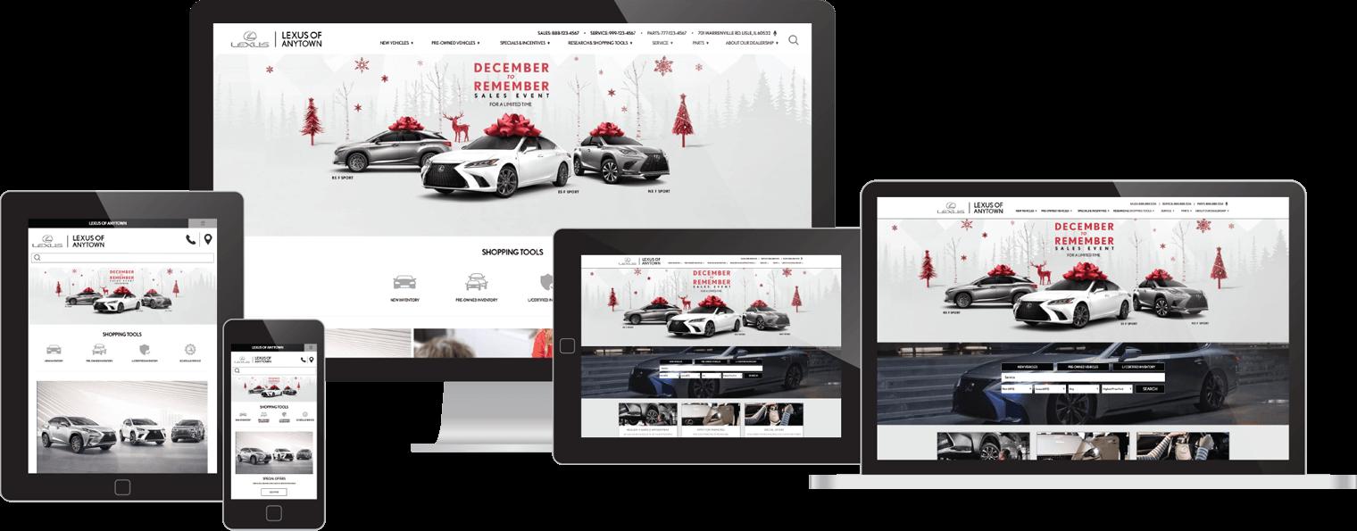 Lexus dealer websites shown on desktop, tablet, and mobile device screens