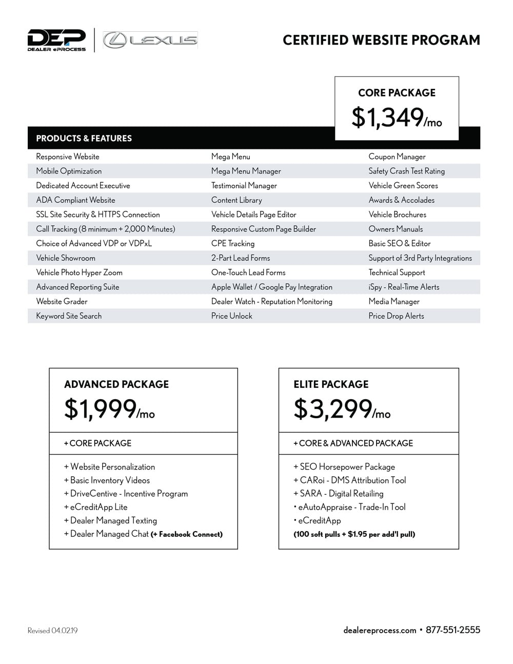 Lexus website program price sheet
