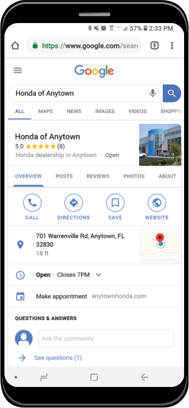 Local Listings Management displayed on smartphone screen
