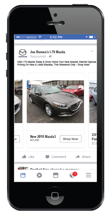 Mazda Facebook ad appearing on smartphone screen
