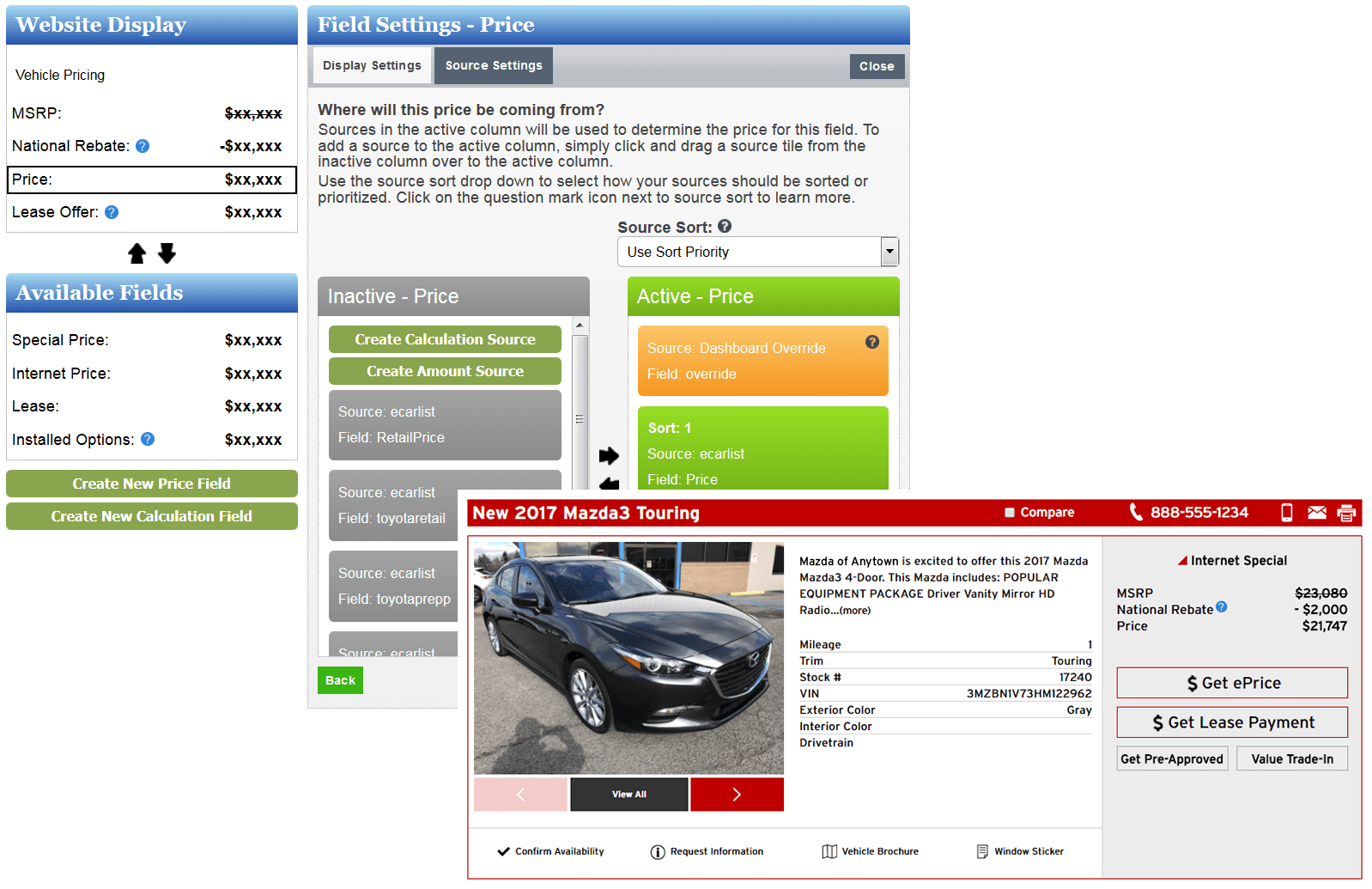 Mazda Pricing Manger screen