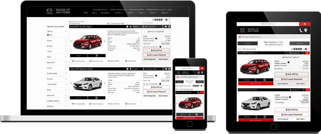 SRP on Mazda website shown on several the screens of several devices