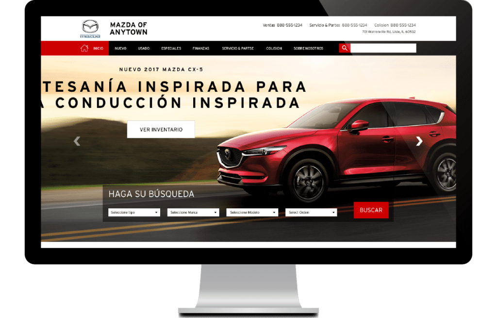 Spanish website on monitor