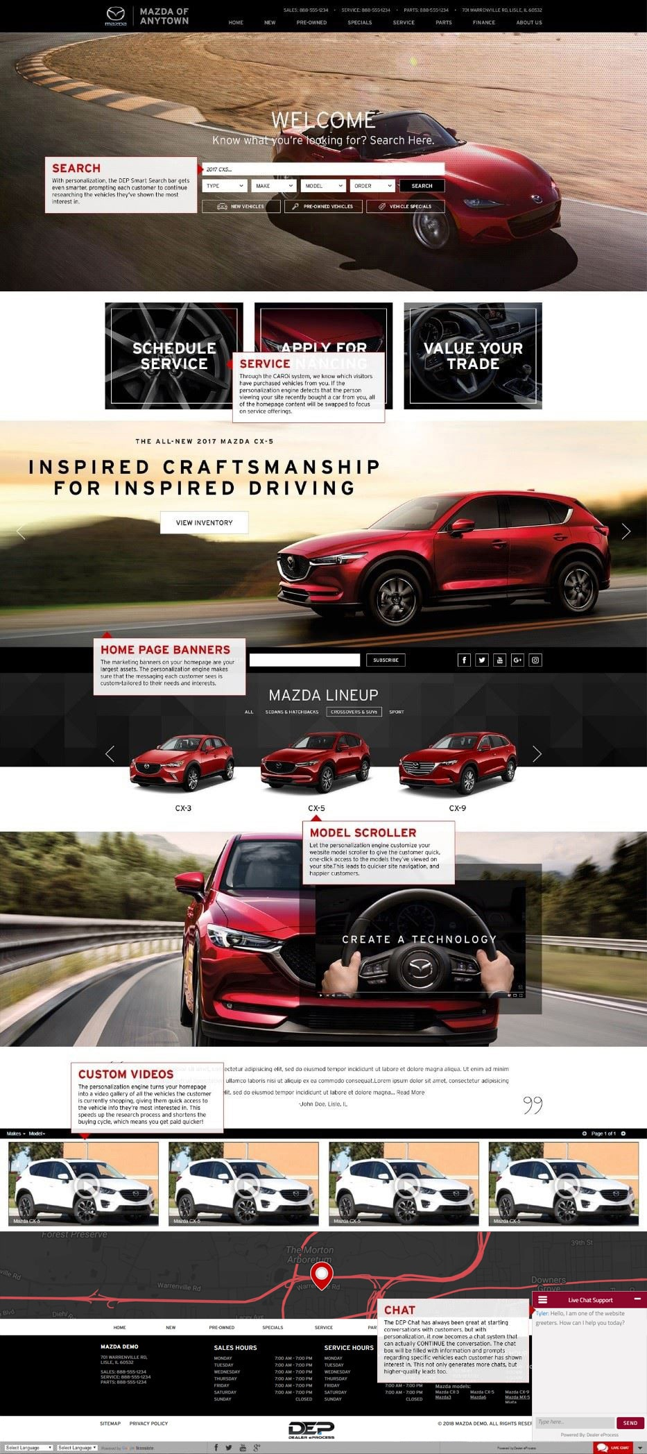 Mazda homepage with personalization features shown
