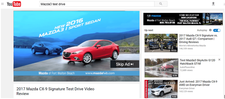 YouTube video featuring Mazda pre-roll ad